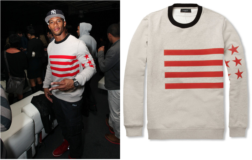 NY Giants Victor Cruz In Givenchy Appliquéd Cotton-Jersey Sweater Vs ... 68030791699