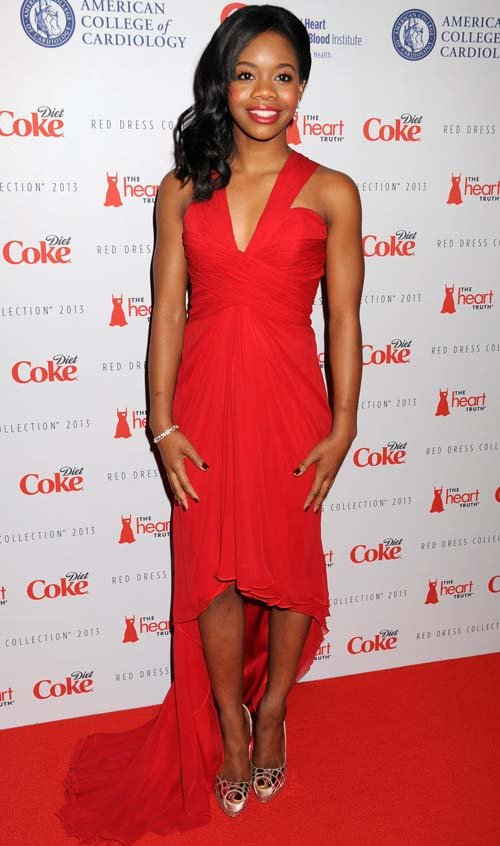 gabby-douglas-heart-is-truth-2013-red-dress-collection-pamella-roland-dress