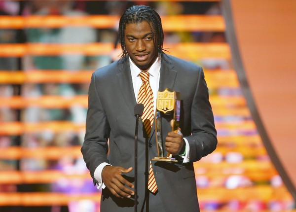 Washington Redskins quarterback Robert Griffin III accepts the the award for the NFL Offensive Rookie of the year during the NFL Honors award show in New Orleans