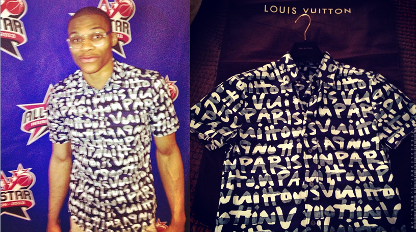 russell-westbrook-all-star-weekend-2013-saturday-night-Louis-Vuitton-Stephen-Sprouse-graffiti-shirt