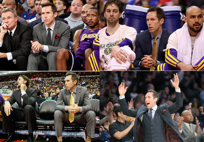 Steve-nash-lakers-injured-wearing-suit-and-tie-on-bench