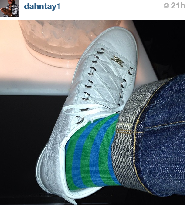 dahntay-jones-instagram-stripe-socks-balenciaga-arena-shoes