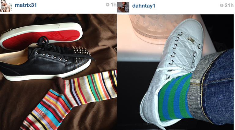 shawn-marion-paul-smith-stripe-socks-christian-louboutin-sneakers-dahntay-jones-stripe-socks-balenciaga-arena-sneakers