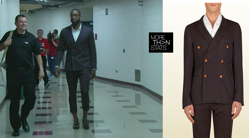 NBA Fashion: Dwyane Wade's Gucci Jersey Dots Suit Shows Off His Ankles With Cropped Trousers