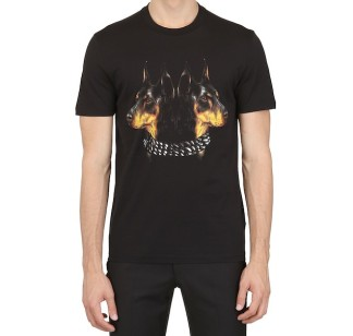 Givenchy-Doberman-brown-print-tee-shirt