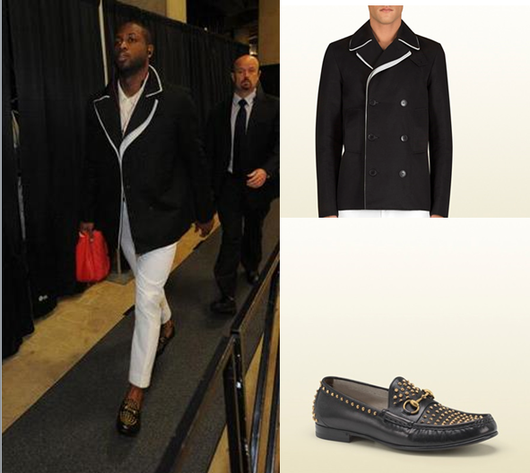 Style From Dwyane Wade In Gucci Peacoat Gucci Roos Studded Loafers