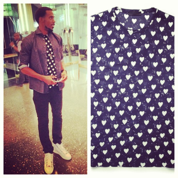 Mike-conley-jr-Burberry-Prorsum-Heart-Print-t-shirt-grungygentleman-eton-shirt-balenciaga-arena-sneakers-jason-of-bh-watch-2