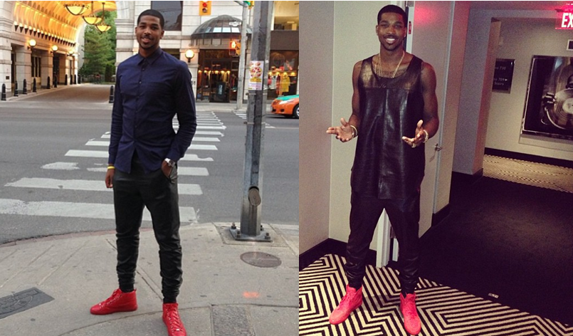 Tristan-Thompson-instagram-leather-pants-balenciaga-sneakers-red-3