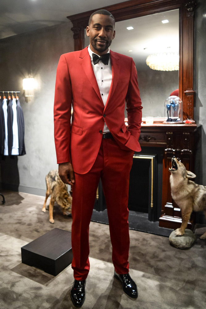 Amare Stoudemire Wedding Custom Lanvin Red Suit 2