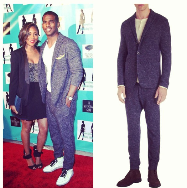 Chris-Paul-laura-govan-party-Barena-venezia-sports-coat-drawstring-slim-sweatpants-wool-cotton