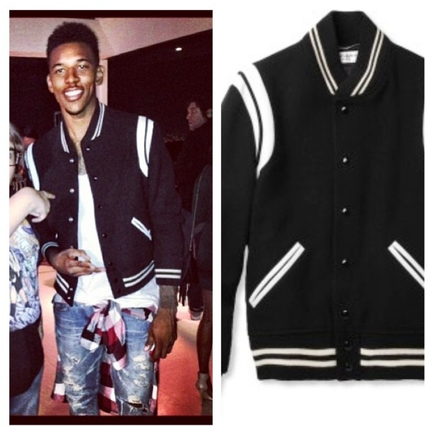 Nick-youngs-instagram-Saint-Laurent-Leather-Trimmed-Wool-Blend-Varsity-Jacket-2
