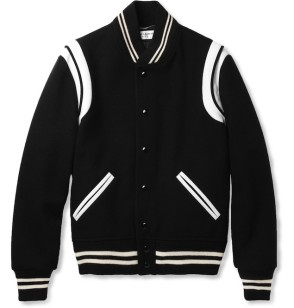 Saint-Laurent-Leather-Trimmed-Wool-Blend-Varsity-Jacket