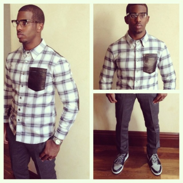 Chris-Paul-Instagram-HSTRY-clothing-Grungygentleman-flannel-shirt-Air-Jordan-1-sneakers-neil-barrett-pants