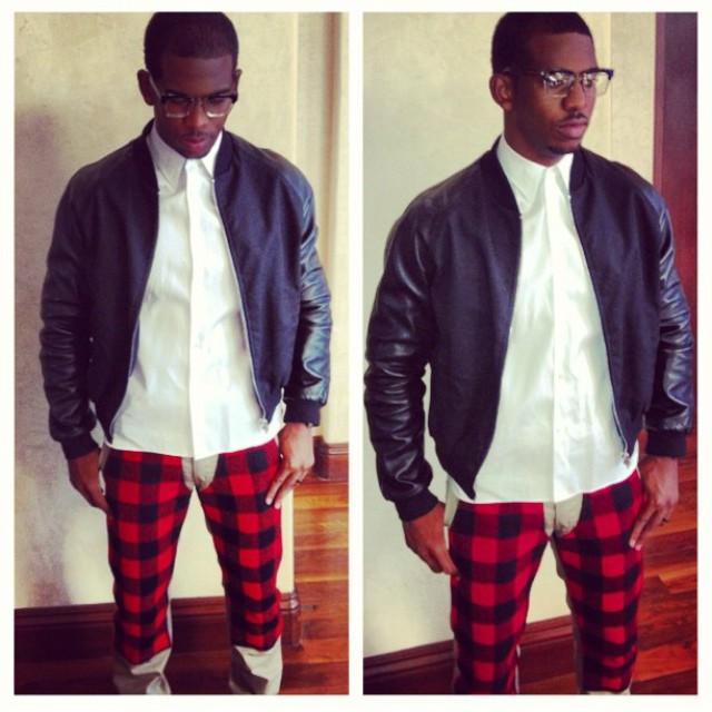 Chris-Paul-Instagram-game-day-outfit-Billionaire-boys-club-Mark-mcnairy-plaid-pants