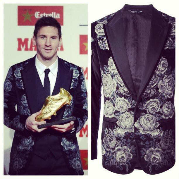 Lionel-Messi-Golden-Boot-Dolce-Gabbana-floral-tapestry-blazer-4