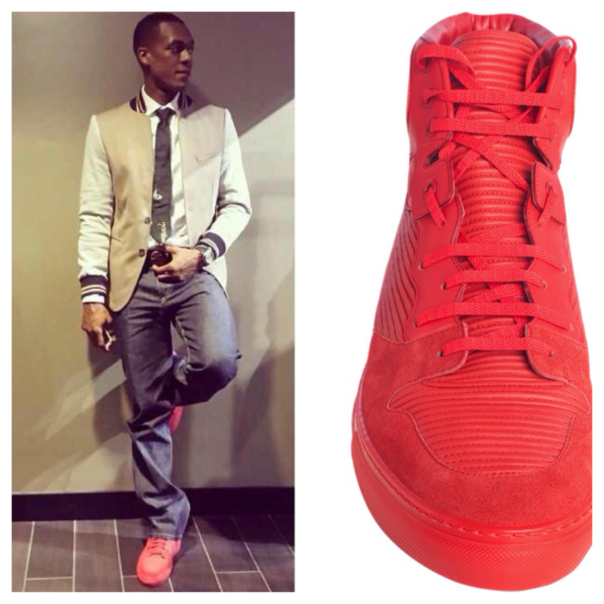 Rajon-Rondo-Instagram-red-balenciaga-sneakers-pleated-high-top-sneakers-Zara-Collegiate-jacket
