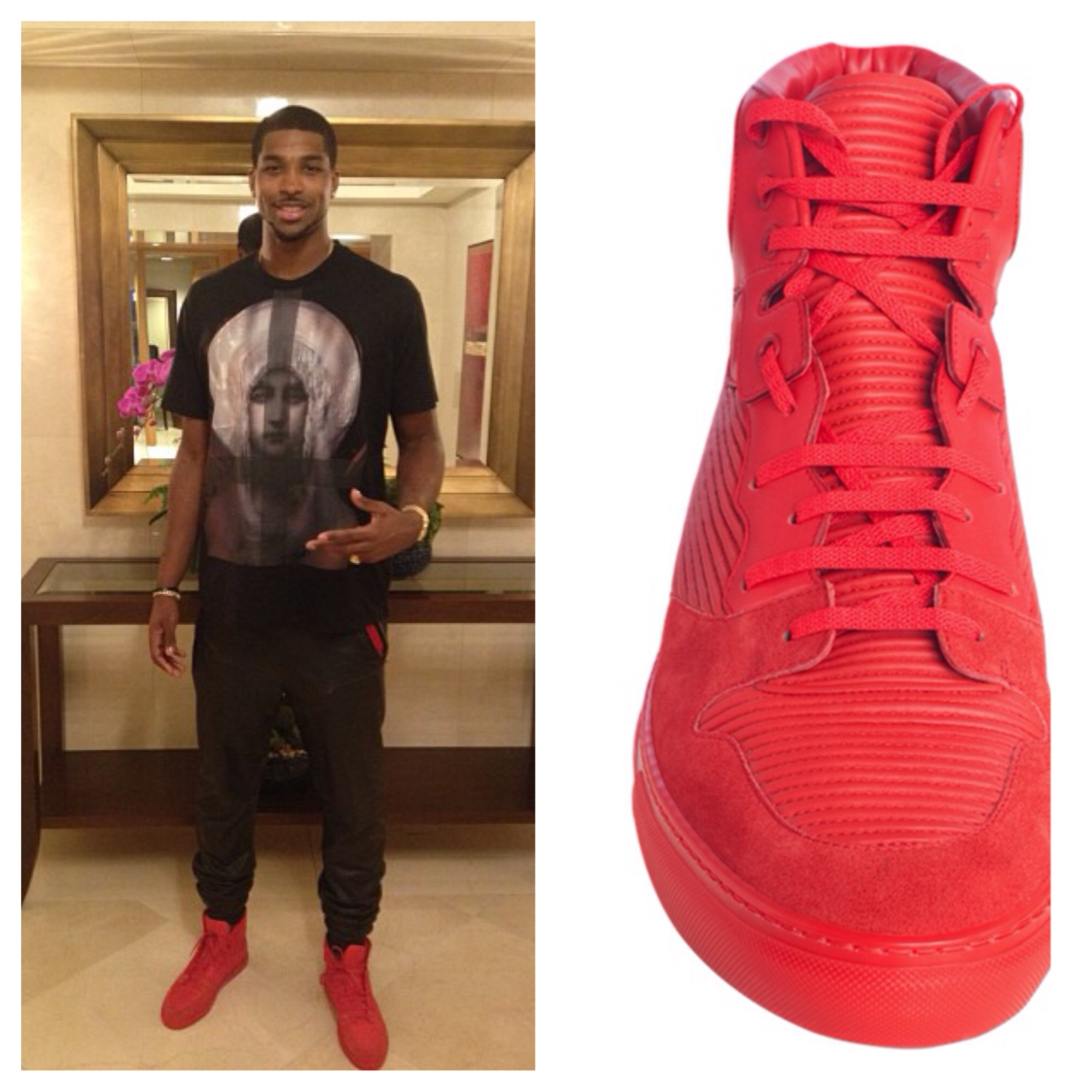 Tristan-Thompson-instagram-red-balenciaga-sneakers-pleated-hightop