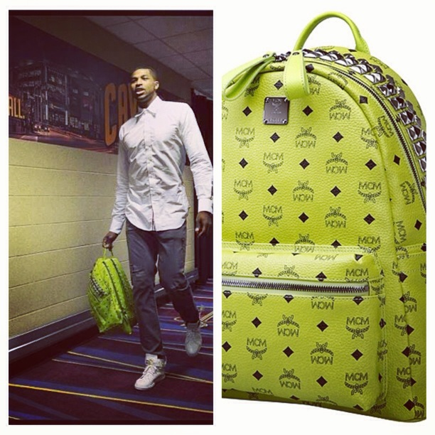tristian-thompson-MCM-Studded-Backpack-lime-green