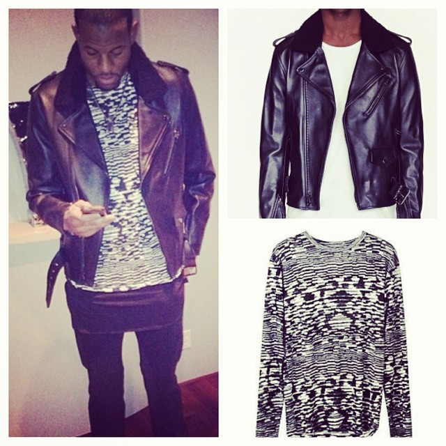 Andre-iguodala-instagram-Isabel-Marant-For-H&M-31-Phillip-Lim-Leather-Biker-jacket