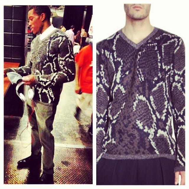 Eric-Bledsoe-Yohji-Yamamoto-Pour-Homme-Snake-sweater-1
