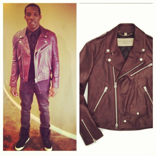 Eric-Bledsoe-instagram-Burberry-Brit-Wroxton-Motorcycle-jacket.