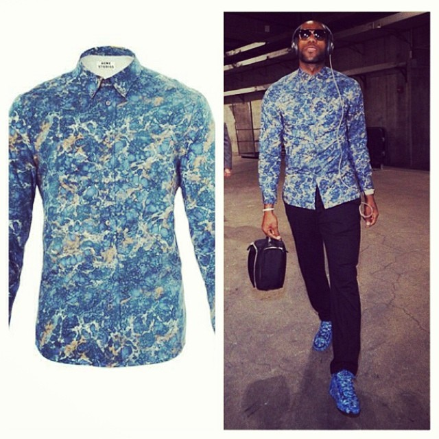 Lebron-James-xmas-day-Acne-marble-print-shirt