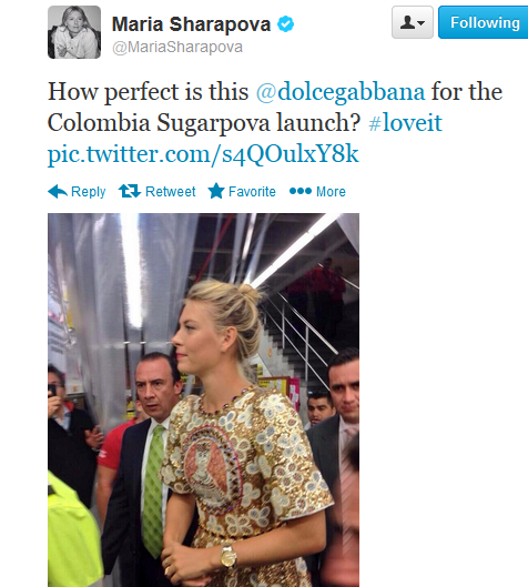 Maria-Sharapova-Twitter-Colombia-Sugarpova-Launch-Dolce-Gabbana-Fall-2013-Dress