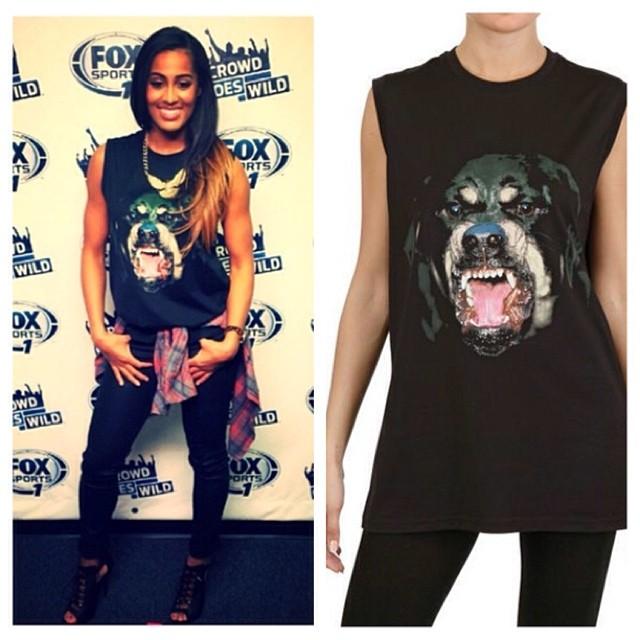 SKylar-diggins-Instagram-Givenchy-Rottweiler-t-shirt-1