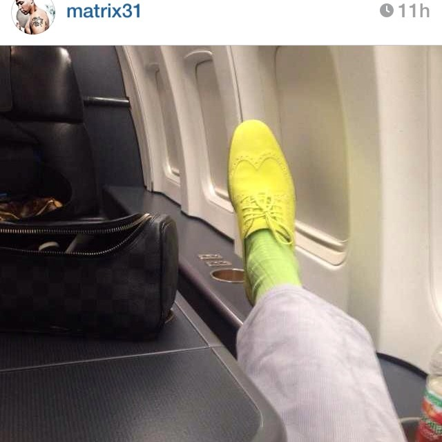 Shawn-Marion-instagram-Cole-Haan-Lunar-Grand-Wingtips-lime-green