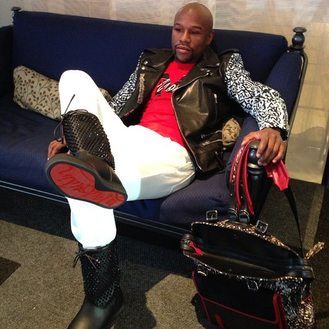 floyd-mayweather-Instagram-Christian-Louboutin-Naza-Spikes-Mens-Flat-Leather-Boots-Saint-Laurent-Paris-YSL-leather-jacket-signature-sumi-ink-club-motorcycle-biker-jacket-