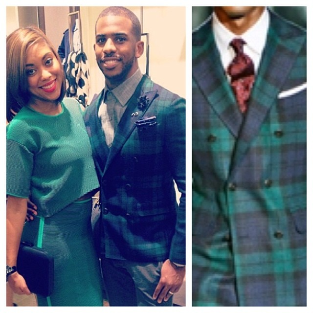 Chris-Paul-Burberry-event-Dsquared2-plaid-spring-2013-double-breasted-blazer