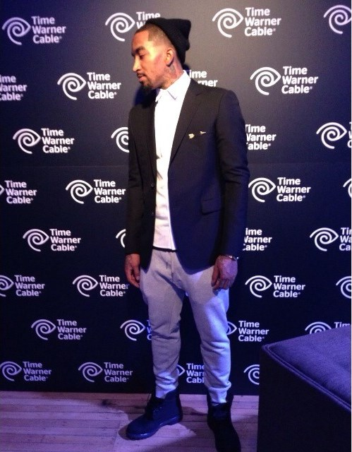 JR-Smith-Revolt-TV-Gucci-Blazer-Public-School-shirt-Acne-Sweatpants-Timberland-boots