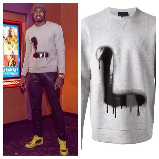 Serge-Ibaka-instagram-About-last-night-screening-wearing-Lanvin-graffiti-print-sweatshirt