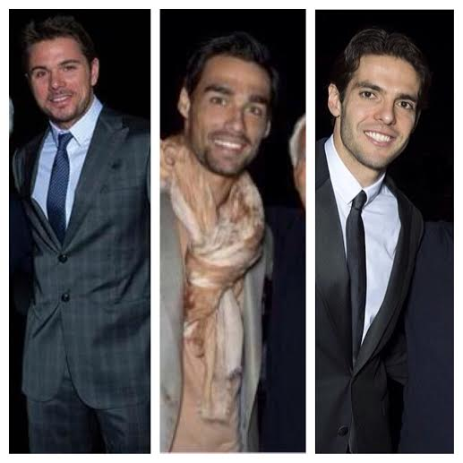 STYLE: Athletes Stanislas Wawrinka, Fabio Fogna, and Ricardo Kaka Attend Gorgio Armani FW 2014 Show for Milan Fashion Week Fall 2014