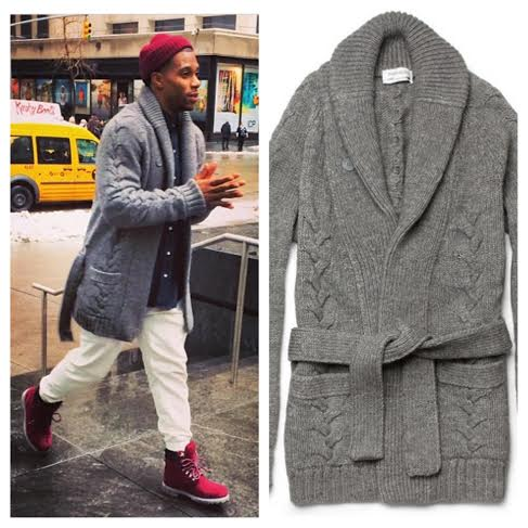 Victor Cruz Wearing Yves Saint Laurent Shawl Collar Belted Cardigan