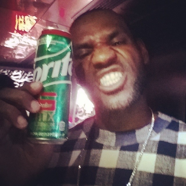 STYLE: Lebron James Celebrates His Sprite 6 Mix Drink Wearing 3.1 Philip Lim Check Poplin Layer Sweater