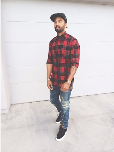 STYLE: MLB Matt Kemp Wearing YSL Saint Laurent Red Plaid Shirt, Polo Ralph Lauren Slim-Fit Bayard Repaired Jeans & Giuseppe Zanotti Moccasin Stitch Toe Black Suede Sneakers