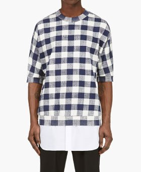 Philip-Lim-Ivory-Navy-Check-Poplin-Layer-Sweater