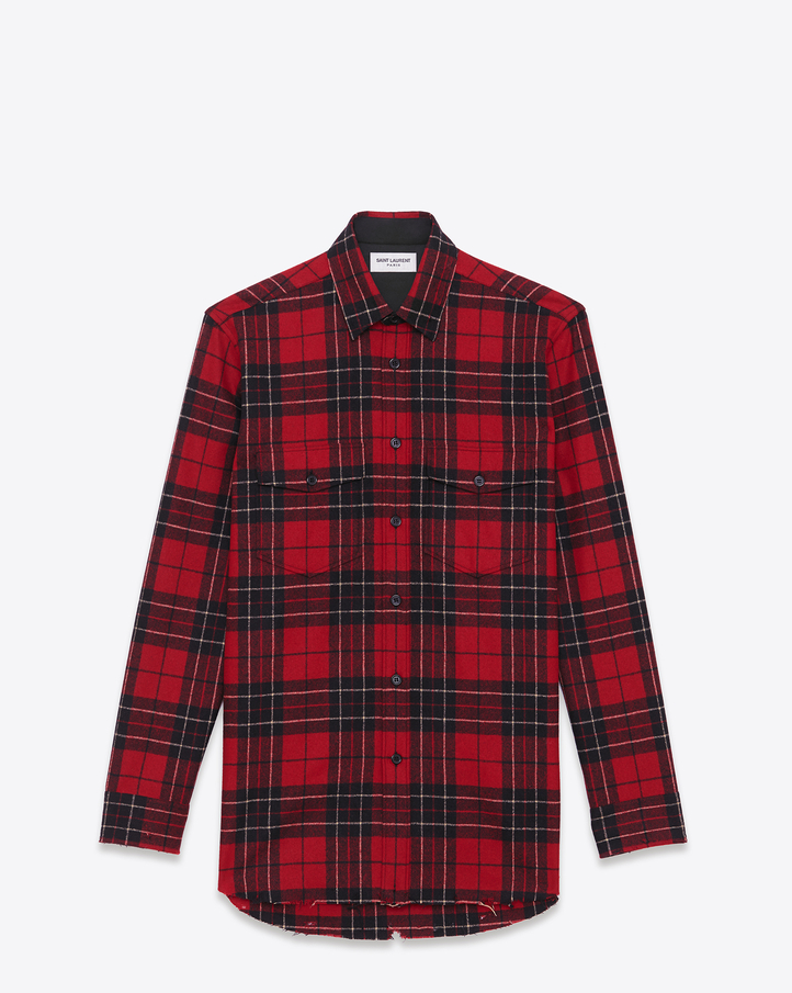 YSL-Saint-Laurent-wool-red-plaid-shirt