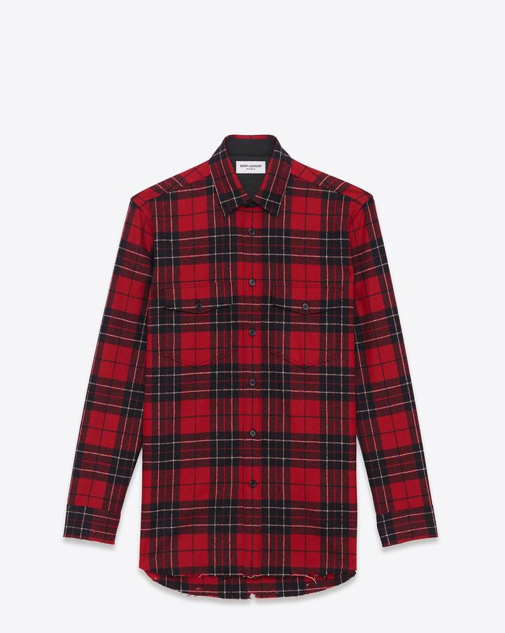 YSL-Saint-Laurent-wool-red-plaid-shirt
