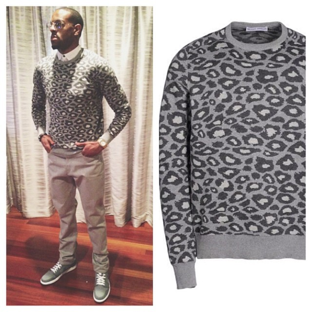 STYLE: NBA Andre Iguodala's Michael Bastian Leopard Print Sweater 2014 NBA Playoffs Game 2, Rd.1