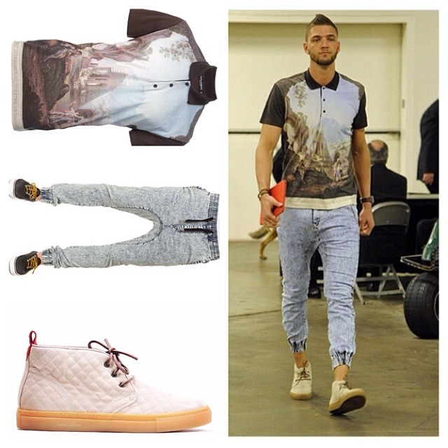 STYLE: NBA Chandler Parsons' Dolce & Gabbana Polo, Zanerobe Jogger Pants, And Del Toro Chukka 2014 NBA Playoffs Game 2, Rd. 1