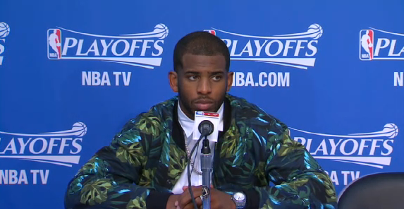 Chris-Paul-leaves-floral-print-jacket-american-apparel-jacket-2014-nba-Playoffs-game-4-round-1-2