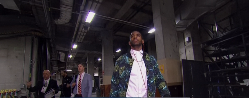 STYLE: Chris Paul's American Apparel Jungle Leaves Print Jacket 2014 NBA Playoffs Game 4, Rd.1
