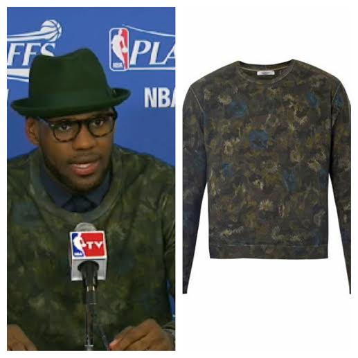 STYLE: Lebron James' Valentino Camo & Floral Print Sweater 2014 NBA Playoffs Game 4, Rd.1