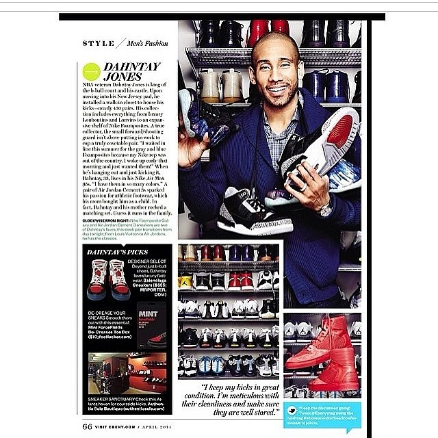 STYLE: NBA Dahntay Jones Shows His Sneaker Collection For EBONY Magazine April 2014