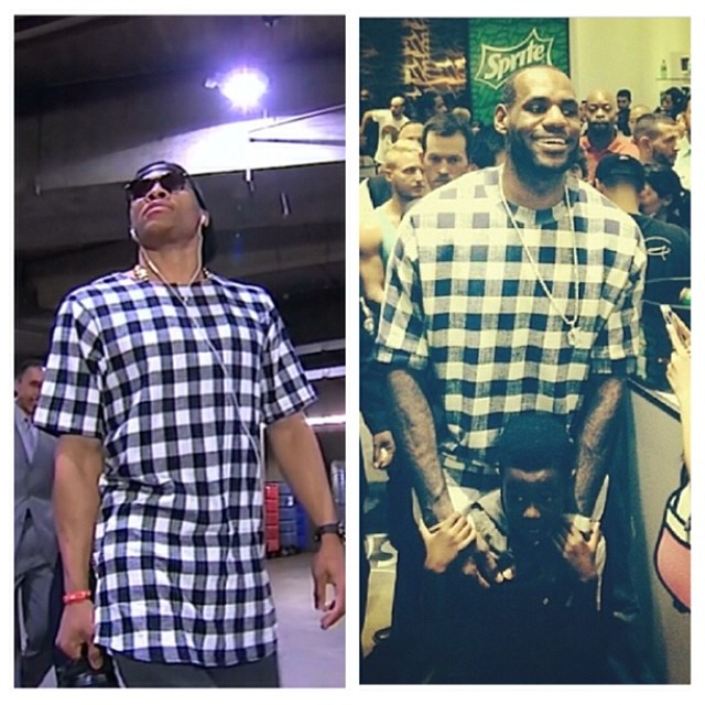 Russell-Westbrook-Lebron-James-navy-check-checkered-shirt