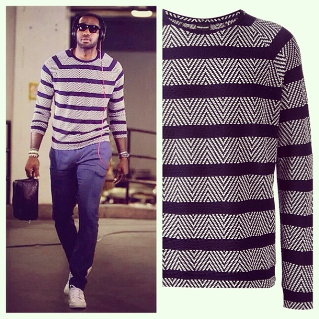 STYLE: Lebron James' Armani Jacquard Striped Sweater 2014 NBA Playoffs Eastern Conference Finals Game 2 STYLE: Lebron James' Armani Jacquard Striped Sweater 2014 NBA Playoffs Eastern Conference Finals Game 2