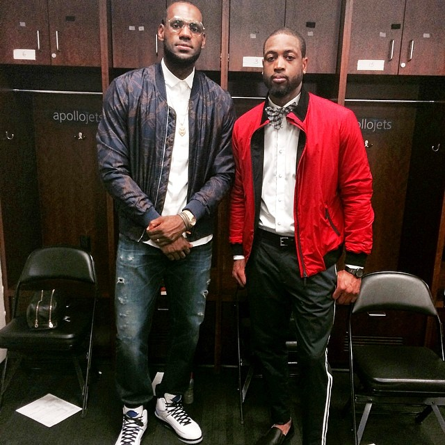 Lebron-James-Gucci-Jacket-Dwyane-Wade-2014-NBA-Playoffs-Game-4-round-2