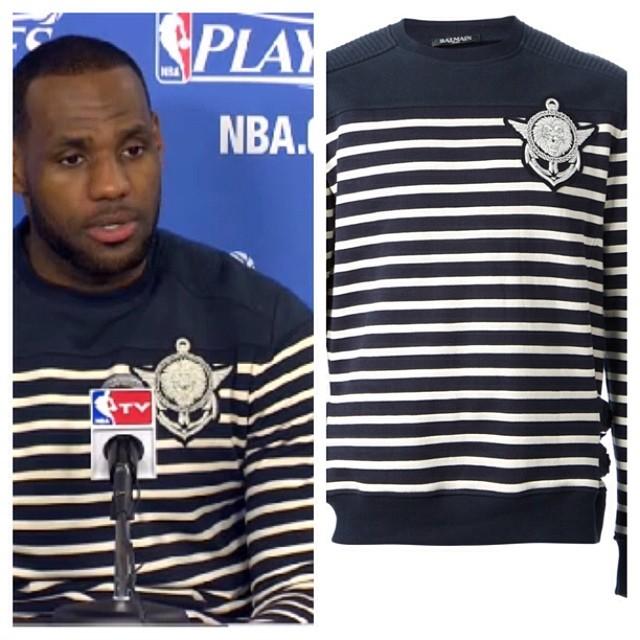 STYLE: Lebron James' Balmain Lion-Emblem Striped Sweater 2014 NBA Playoffs Game 4, Rd1